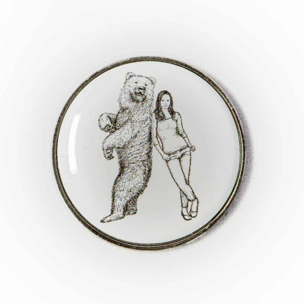 Badge with Woman and her Bear